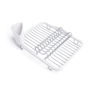 Discover the umbra sinkin dish drying rack dish drainer kitchen sink caddy with removable cutlery holder fits in sink or on countertop white