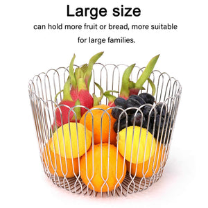 Organize with fruit basket bowl stainless steel large wire fruit storage basket with bread for kitchen counter lanejoy