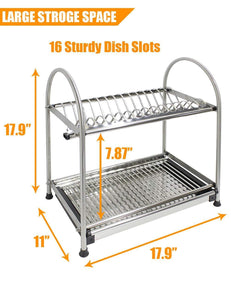 Exclusive kitchen hardware collection 2 tier dish drying rack stainless steel stand on countertop draining rack 17 9 inch length 16 dish slots organizer with drainboard for cup plate bowl