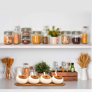 Great ruckae ceramic condiment jar spice container with bamboo lid porcelain spoon wooden tray set of 4 white 170ml5 8 oz perfect spice storage for home kitchen counter