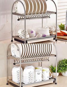 Cheap kitchen hardware collection 2 tier dish drying rack stainless steel stand on countertop draining rack 17 9 inch length 16 dish slots organizer with drainboard for cup plate bowl