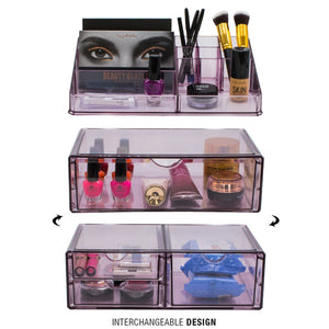 Kitchen sorbus acrylic cosmetics makeup and jewelry storage case x large display sets interlocking scoop drawers to create your own specially designed makeup counter stackable and interchangeable purple
