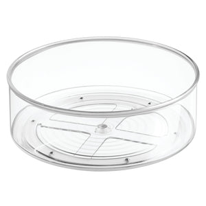 Budget mdesign plastic lazy susan spinning food storage turntable for cabinet pantry refrigerator countertop spinning organizer for spices condiments baking supplies 9 round 4 pack clear