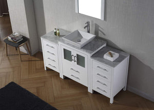 Best virtu usa dior 60 inch single sink bathroom vanity set in white w square vessel sink italian carrara white marble countertop single hole polished chrome 1 mirror ks 70060 wm wh
