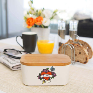 Get porcelain ceramic butter dish with lid large butter keeper fits 2 butter sticks airtight seal durable butter container box holder tray for kitchen table fridge counter standard size heart tattoo