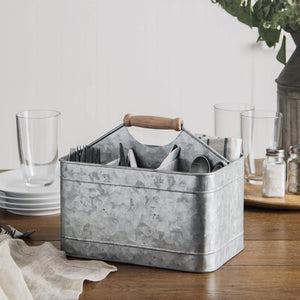 Discover elegant home galvanized flatware caddy organizer for kitchen counter top outdoor storage dining table comfortable handle rectangular