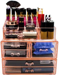 Storage sorbus acrylic cosmetics makeup and jewelry storage case display sets interlocking drawers to create your own specially designed makeup counter stackable and interchangeable pink