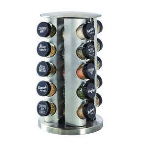 Shop for kamenstein 5244684 revolving 20 jar countertop rack tower organizer with black caps and free spice refills for 5 years count silver