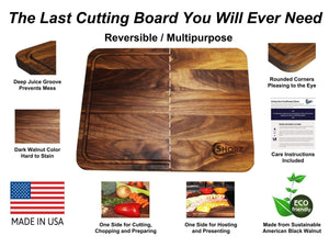 Save extra large reversible walnut wood cutting board by shorz 17 x 13 x 1 inch made in usa from american black walnut hardwood boards keep knives sharp juice groove keeps kitchen countertop clean