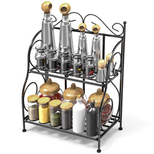 Budget friendly spice rack ispecle 2 tier foldable shelf rack kitchen bathroom countertop 2 tier standing storage organizer spice jars bottle shelf holder rack black
