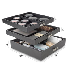 Storage organizer glenor co makeup organizer extra large exquisite case w modern closure 4 drawer trays full mirror huge cosmetic storage jewelry box for dresser counter top vanity pu leather black
