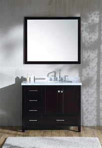 Buy now ariel cambridge a043s r cwr esp 43 inch right offset single sink bathroom vanity set in espresso with carrara marble countertop rectangular sink