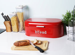 Great large bread box for kitchen counter bread bin storage container with lid metal vintage retro design for loaves sliced bread pastries red 17 x 9 x 6 inches