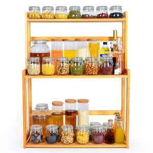 Buy 3 tier spice rack kitchen bathroom countertop storage organizer rack bamboo spice bottle jars rack holder with adjustable shelf 100 natrual bamboo