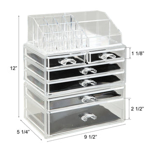The best finnhomy 3 tier acrylic makeup cosmetic jewelry diamond organizer 3 piece set counter storage case large display drawer box bathroom vanity case for lipstick brush nail polish clear