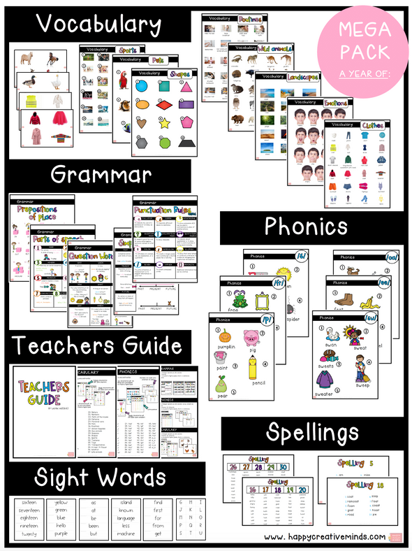 MEGA PACK: GRAMMAR PACK, VOCABULARY PACK, PHONICS PACK & SPELLINGS PACK