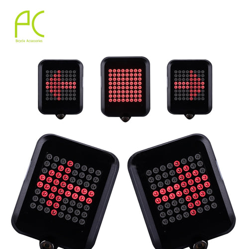 PCycling Bicycle Intelligent Turn Taillight Signal Light Brake Light Projection Lamp 64 LED Infrared Warning Light Accessories - thebicyclingstores.com