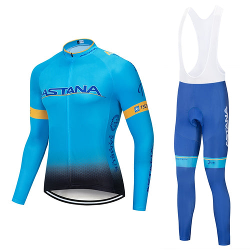 ASTANA 2018 Team long sleeve Cycling jersey Set bib pants ropa ciclismo bicycle clothing MTB bike jersey Uniform Men clothes - thebicyclingstores.com