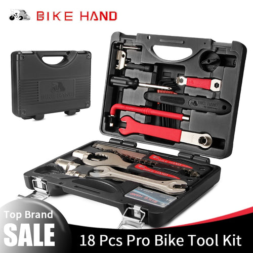 BIKEHAND 18 In 1 Multiful Bicycle Tools Kit Portable Bike Repair Tool Box Set Hex Key Wrench Remover Crank Puller Cycling Tools - thebicyclingstores.com