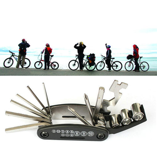16 In 1 Carbon Steel Wrench Screwdriver Tools Bicycle Repairing Multifunction Tool Black Silver - thebicyclingstores.com