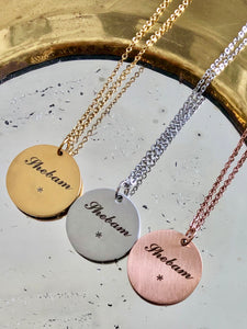 "Shebam Paris x So_lovely_so / Collier une Médaille ""Enjoy the little things"""