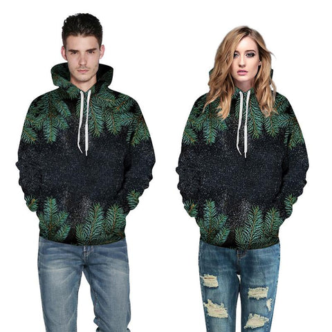 3D Print Hoodie - Tree Leaves Printing Pattern Hooded Sweatshirt  OTSO048