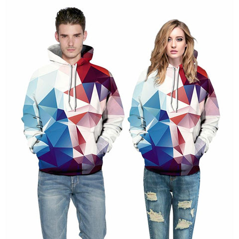 3D Print Hoodie - Fashion Colorful Rhombus Pattern Pullover Hoodie OTSO018