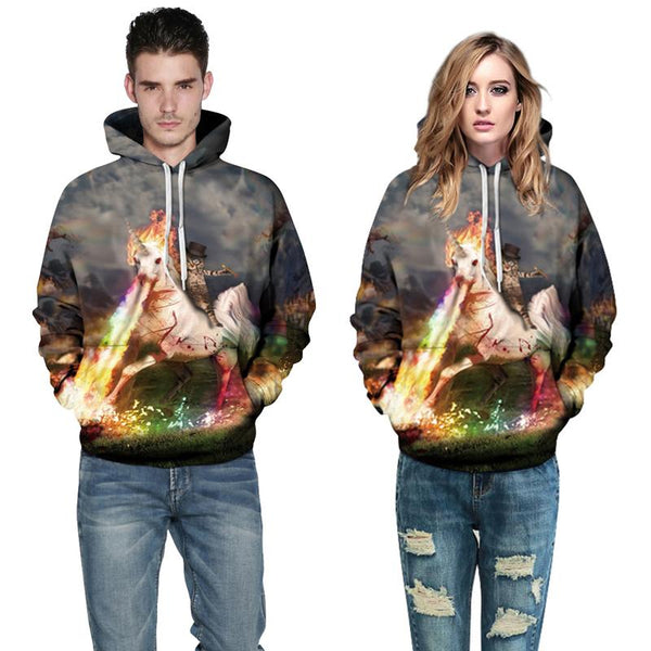 3D Digital Print Hoodie - Unicorn Knight Cats Pattern Hooded Sweatshirt OTSO036