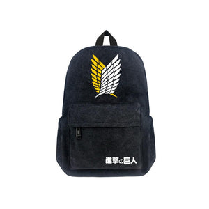 "Japanese Anime Attack On Titan Canvas 17"" Bag Backpack"