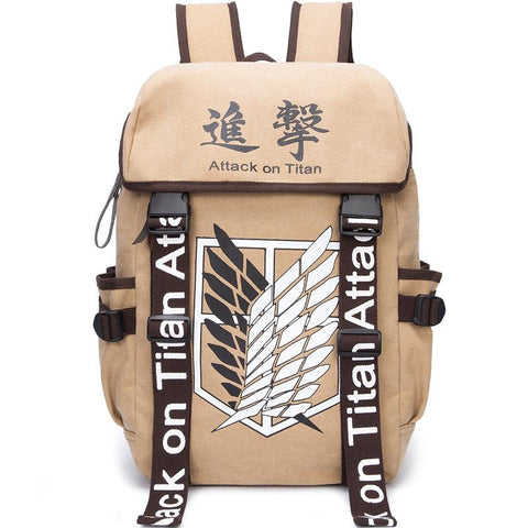 Anime Comics Attack On Titan Canvas Backpack