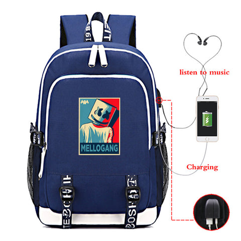Marshmello Travel Backpack With USB Charging Port