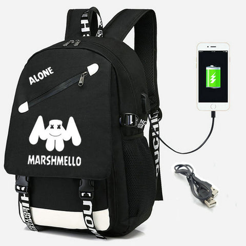 Marshmello Backpack With USB Charging Port