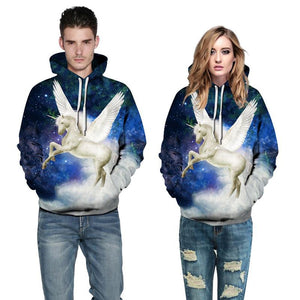 3D Digital Print Hoodie - White Flying Unicorn Pattern  Hooded Sweatshirt OTSO038