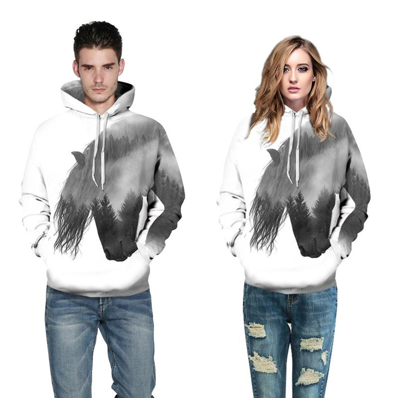 3D Print Hoodie - Forest Tree Horse Pattern Pullover Sweatshirt OTSO033