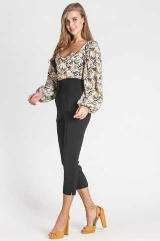 Floral Long Sleeve Knot Top