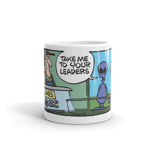 Take me to your leaders fishing store mug