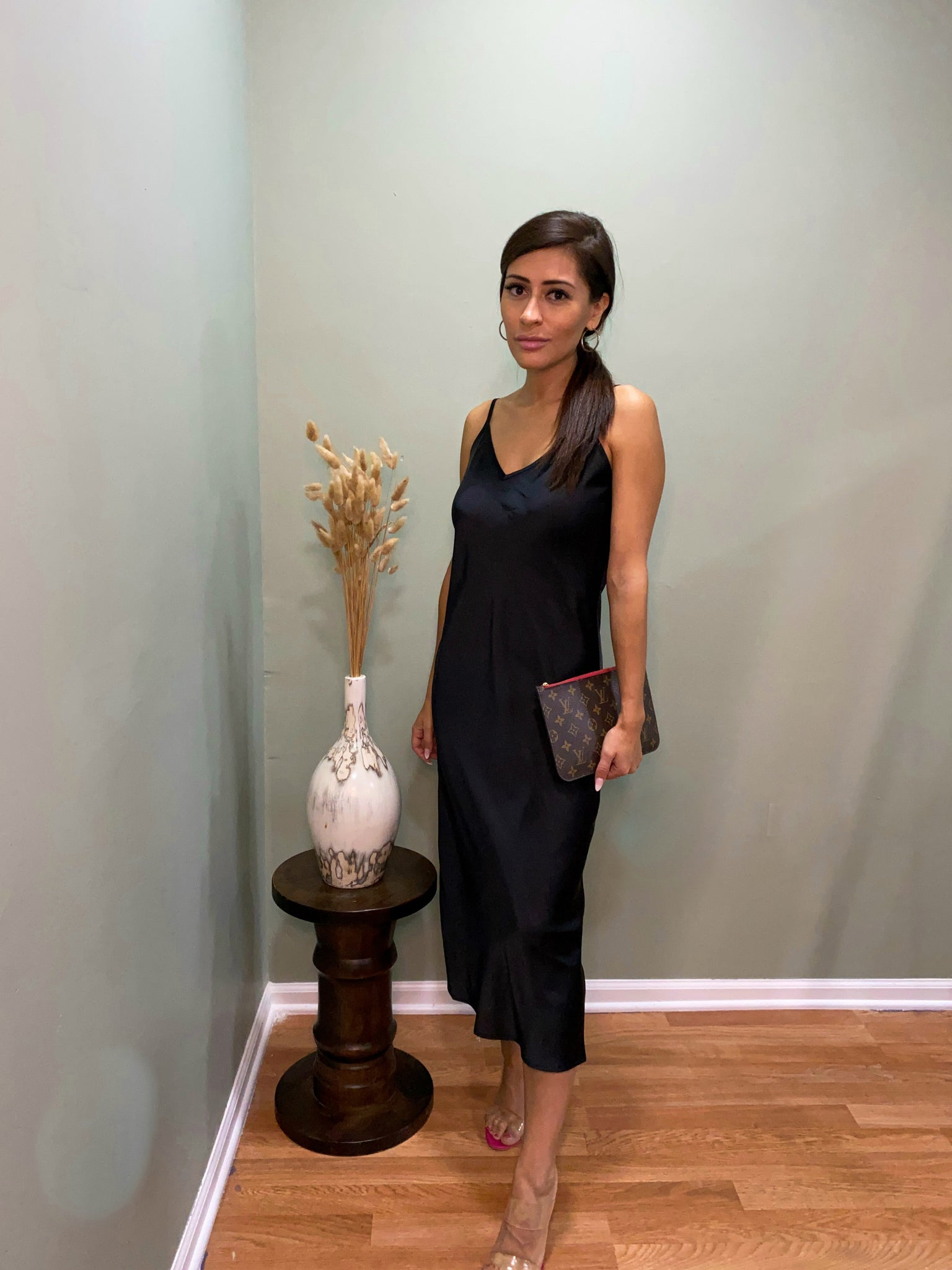 black bali satin dress
