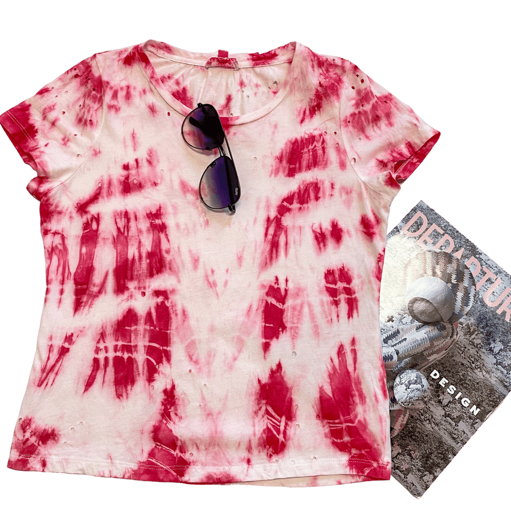 pink daze distressed tie-dye tee