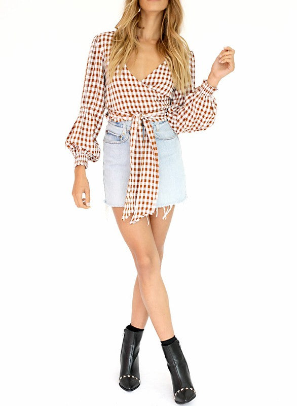 pumpkin plaid long sleeve blouse