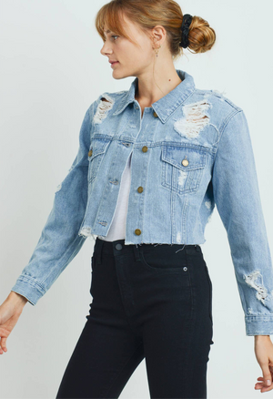 logan distressed cropped jacket