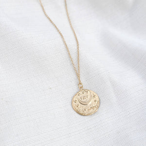 Eleanor Gold Hand Stamped Coin Necklace Indigo Muse