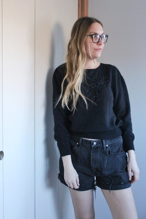 Black Sweater with Beaded Flower - elizabeth o. vintage