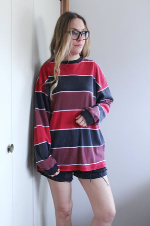 elizabeth o. vintage - Black and Red Striped Waffle Shirt