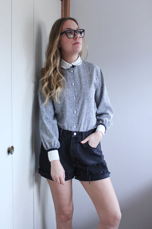 Black and White Houndstooth Blouse