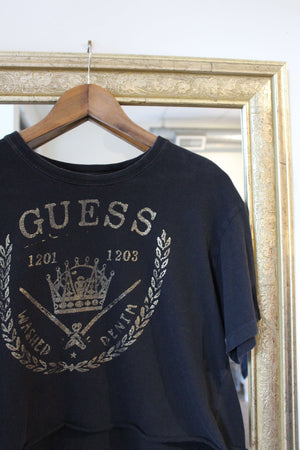 Black and Gold Guess Crop Tee