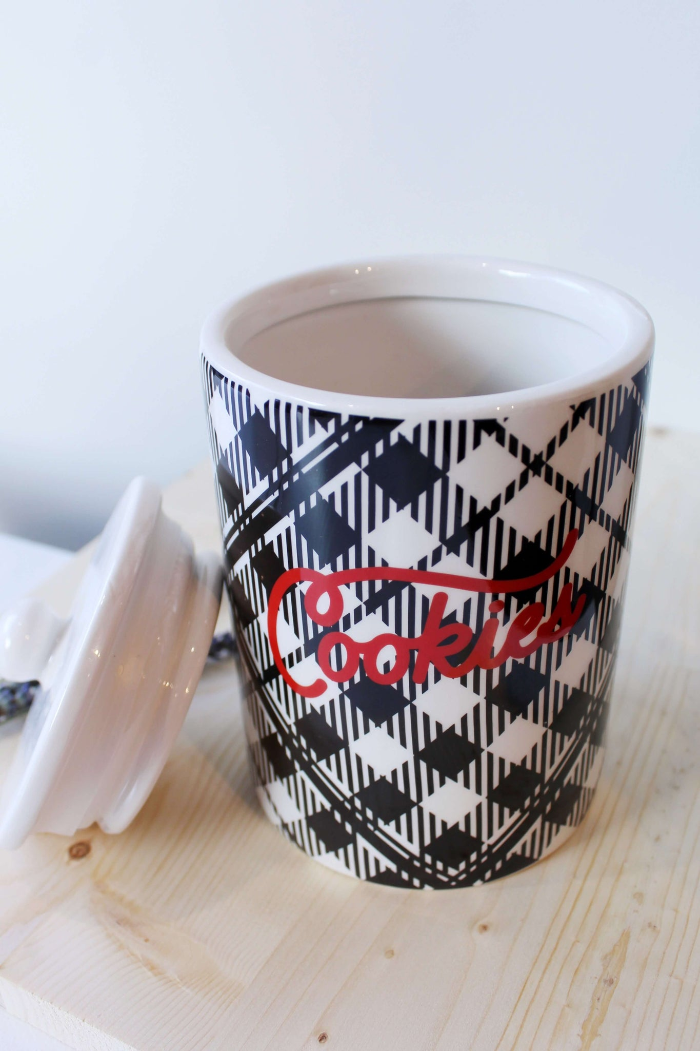 Black and White Plaid Cookie Jar