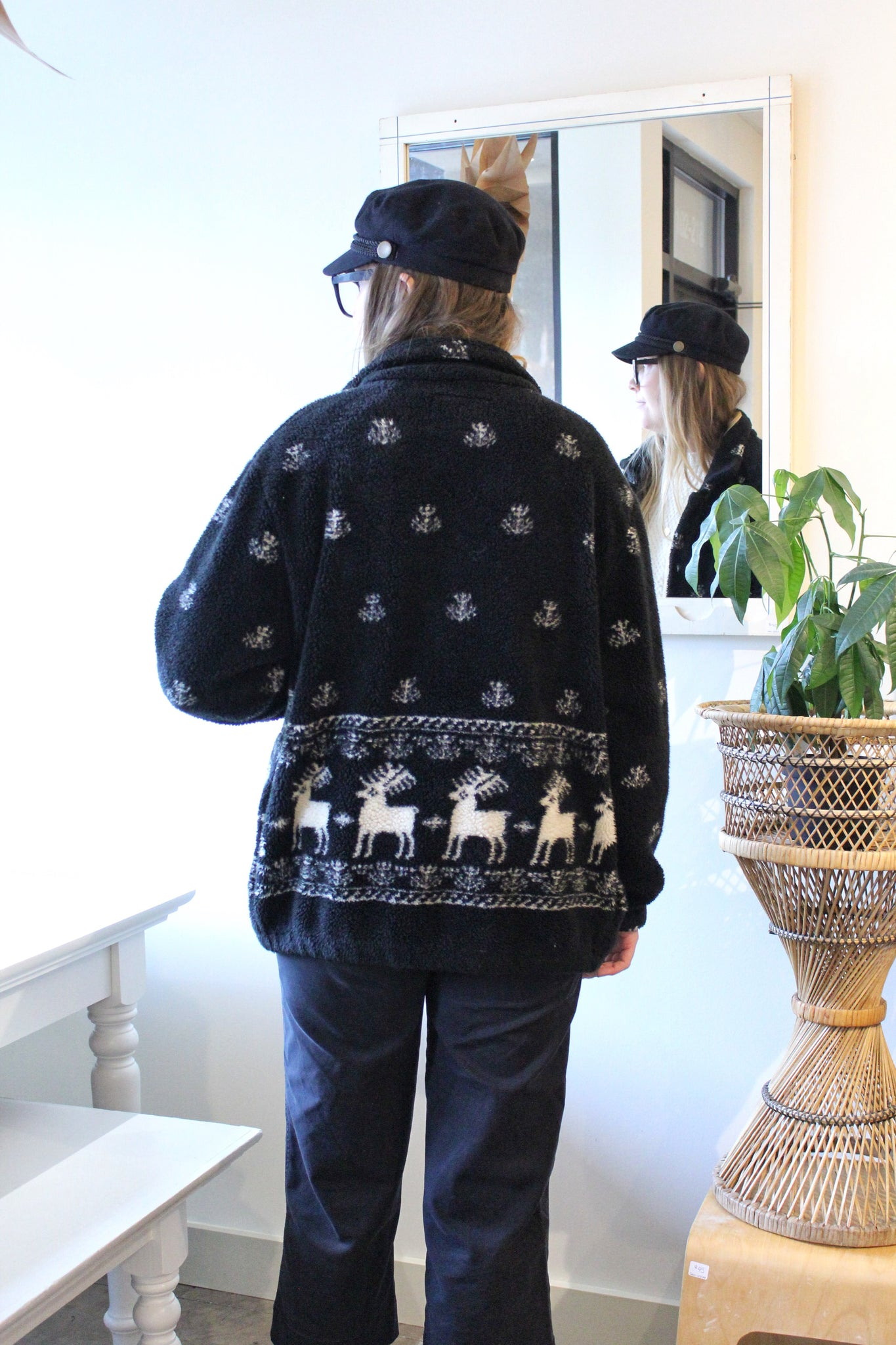 Black and White Reindeer Fleece