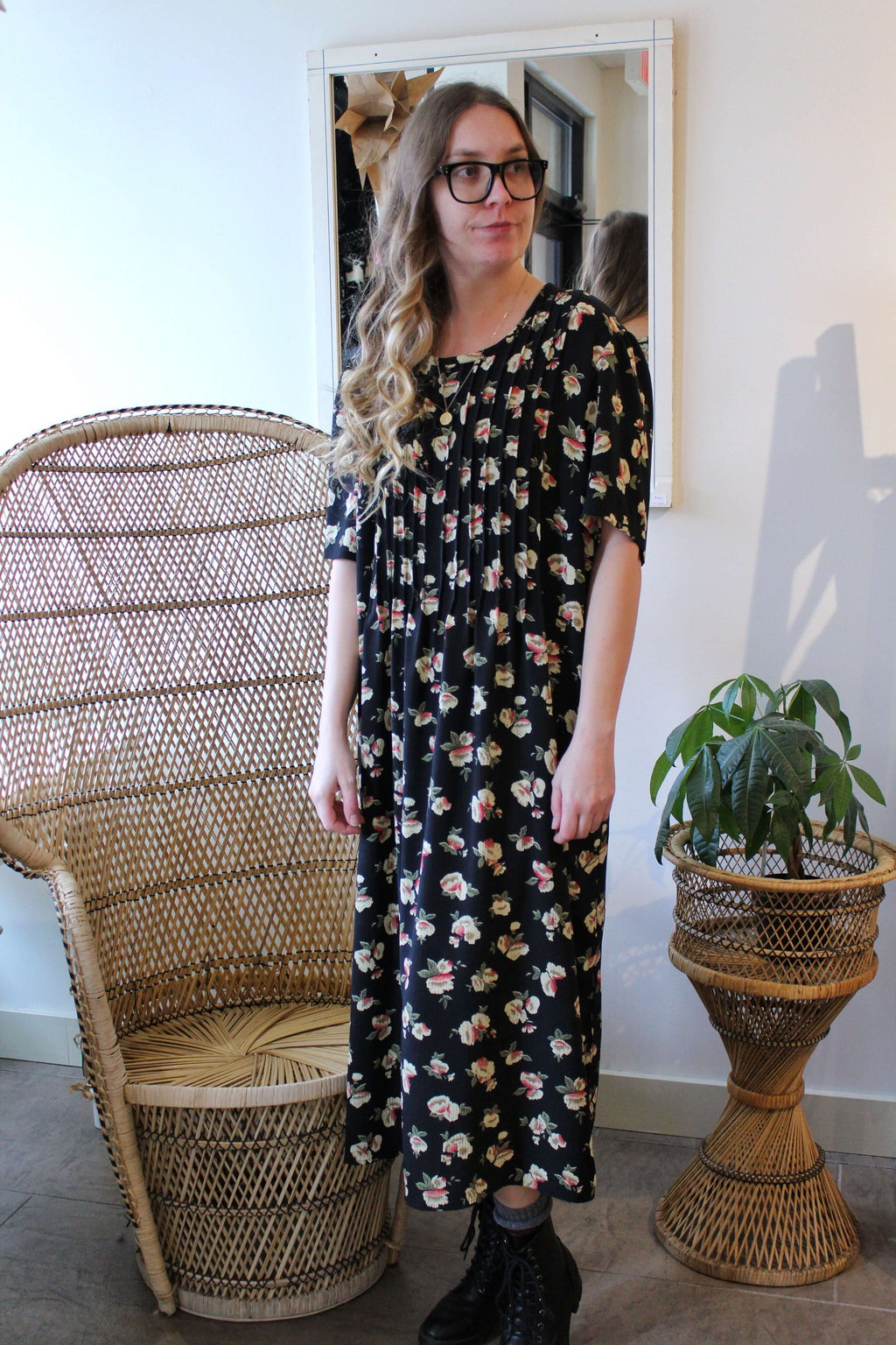 Black with Small Flowers Long Dress