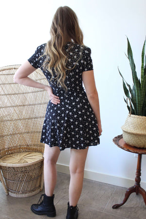Black with White Ditsy Floral Mini Dress