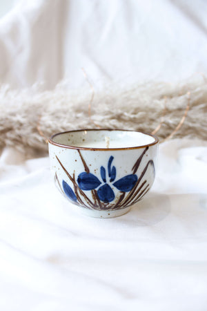 Thrifted Magic Candle Blue Flower Ceramic Bowl